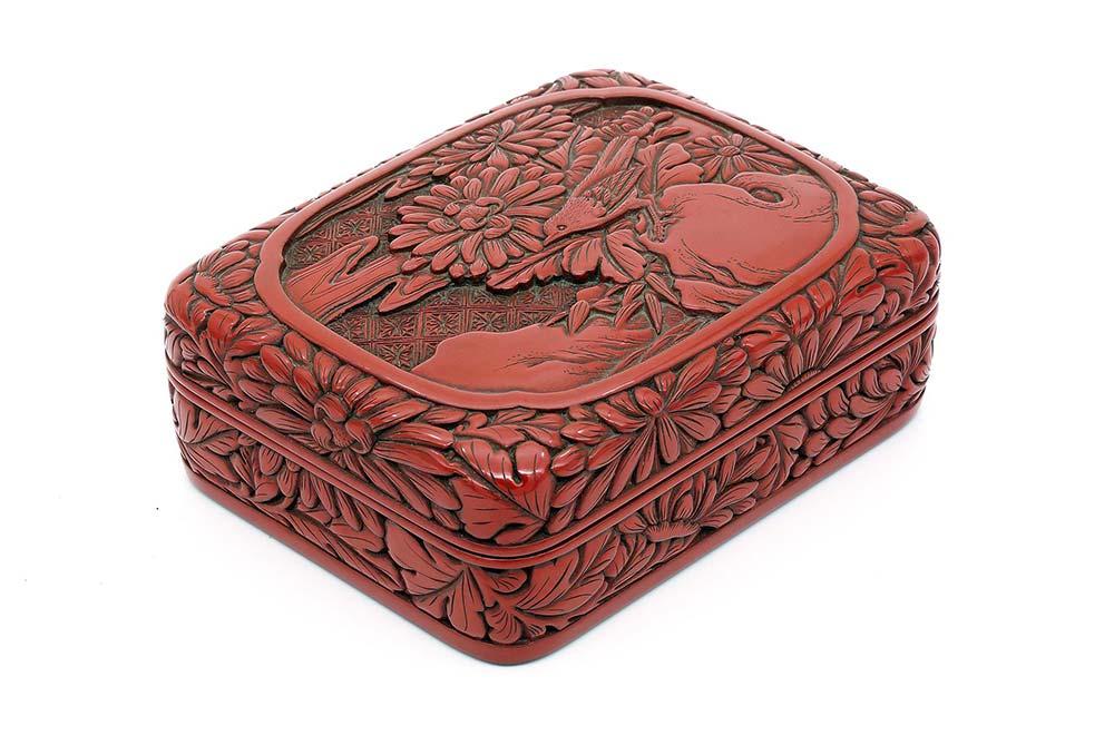剔紅花鳥紋盒