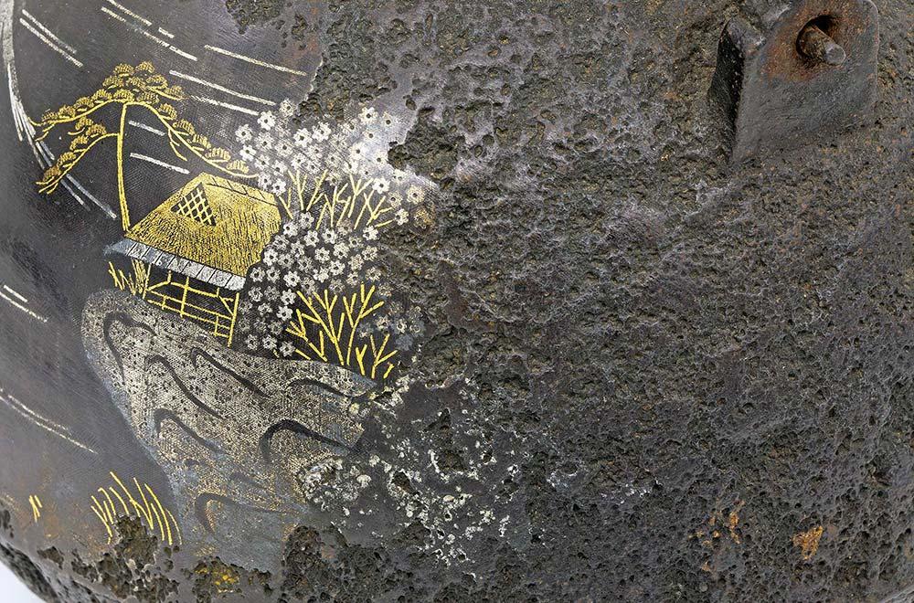 雪銀象眼入富士山鐵壺