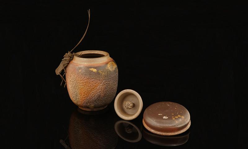 一見古美術生活 ‧ 難得一見 ‧ 古董 茶道具 【榊原芳山的備前燒茶心壺】